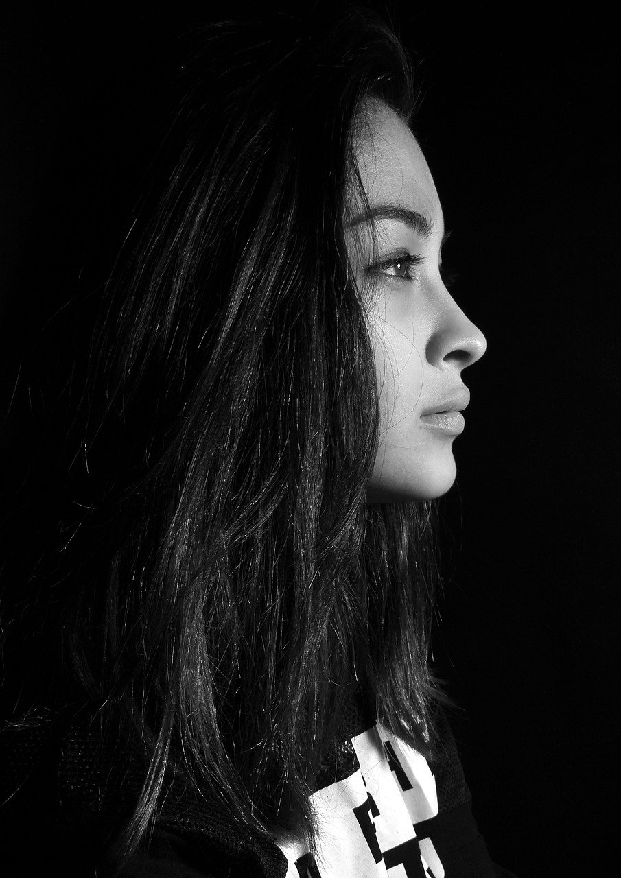 portrait, woman, profile